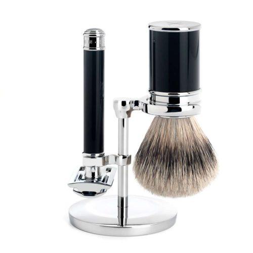 scheerset traditional safety razor silvertip zwart